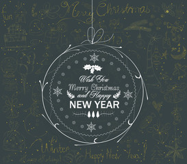 christmas and happy new year ball greeting card