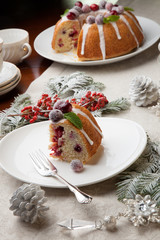 Piece of Christmas Cranberry Cake