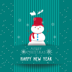 christmas and happy new year with snowman card