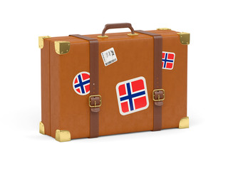 Suitcase with flag of norway