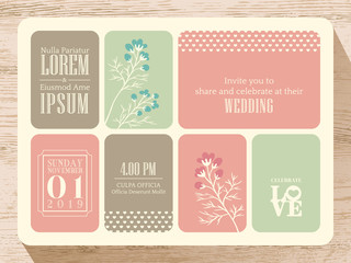 Cute pastel wedding invitation card background