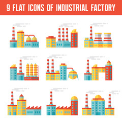 Industrial factory buildings vector icons in flat design style