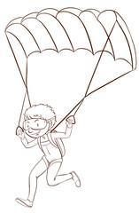 A boy skydiving
