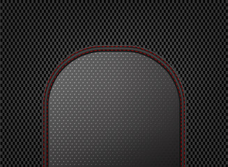 Dark sewing leather on carbon pattern abstract background