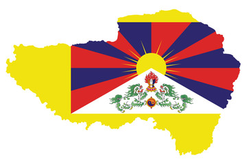 Flag of Tibet also know as the snow lion flag