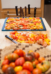 Tomatoes prepared for drying