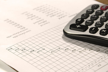 calculator on account book