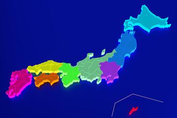 日本地図 (明るい海バージョン)