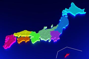 日本地図 (暗い海バージョン)