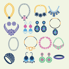 Set of jewelry icons - Illustration