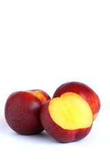 Nectarine on White Background