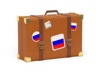 Suitcase with flag of russia