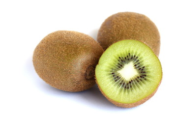 Kiwifruit on White Bakcground