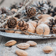 Christmas Tray with Pine cones, Walnuts, Almonds