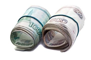 Russian bills stapled Rubber band