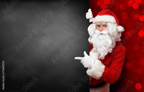 Fotobehang Uitvoering Weihnachtsmann mit Tafel