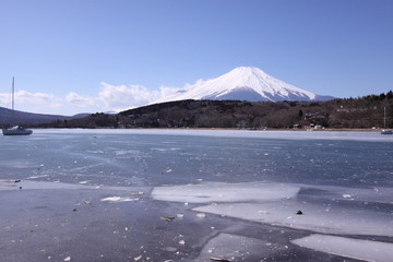 富士山と氷の湖