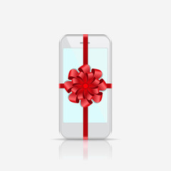 Smart Phone with Red Ribbon and Bow isolated on white background