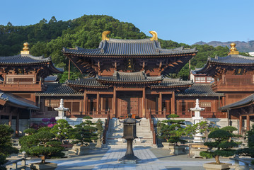 Chi Lin Nunnery in Hong Kong. The traditional architecture in th