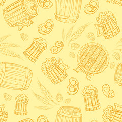 Vector pattern with hand drawn symbols of beer