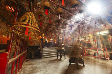 The interior of the Man Mo Temple, Hong Kong