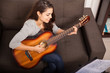 canvas print picture - Playing some music with guitar