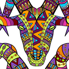 Seamless decorative goat pattern ornamental background