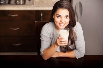 Enjoying a glass of milk