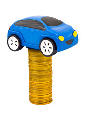 Toy car and stack of coins
