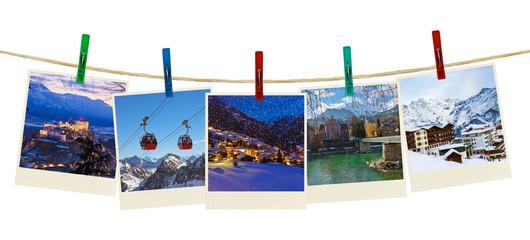 Austria mountains ski photography on clothespins