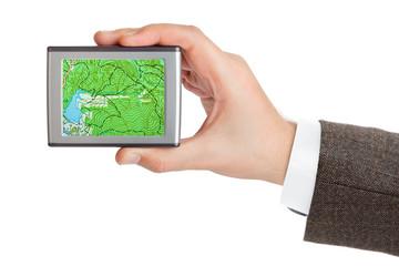 GPS navigator in hand