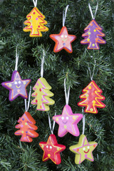 Christmas tree ornaments - trees and stars