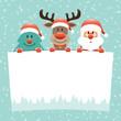 Tree, Rudolph & Santa Wishlist Snow Retro