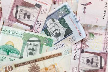 Saudi Arabia money, banknotes background texture