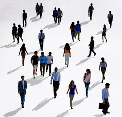 Crowd Diverse People Walking Isolated Concept