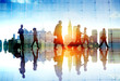 canvas print picture - Silhouette People Meeting Cityscape Team Concept