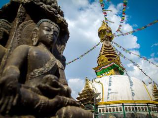 Kathesimbu Stupa with Buddha wisdom eyes and prayer colorful fla