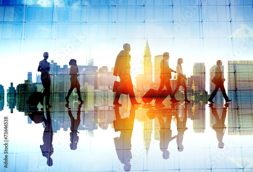 Silhouette People Meeting Cityscape Team Concept - 73646538