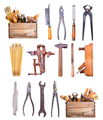 old tools isolated on white background
