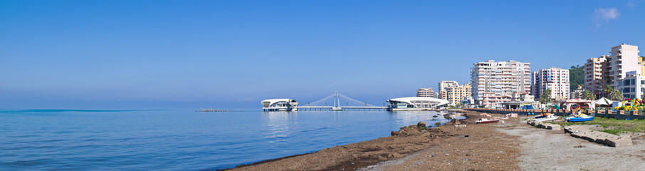 Beach and pier in Durres, Albania