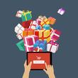 Zdjęcia na płótnie, fototapety, obrazy : Ordering christmas gifts online