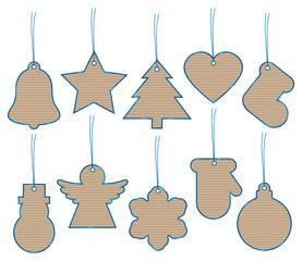 Set 10 Christmas Hangtags Brown Paper Blue