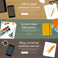 Set of home page website banners - workplaces
