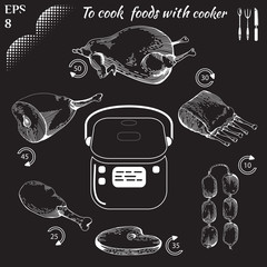 to cook food with cooker vector. Healthy food