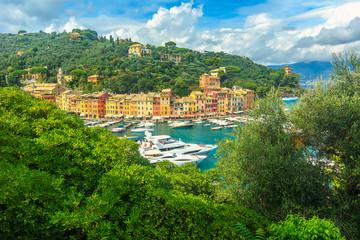 The famous Portofino village and luxury yachts,Liguria,Italy