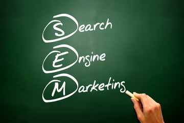 SEM Search Engine Marketing, business strategy on blackboard