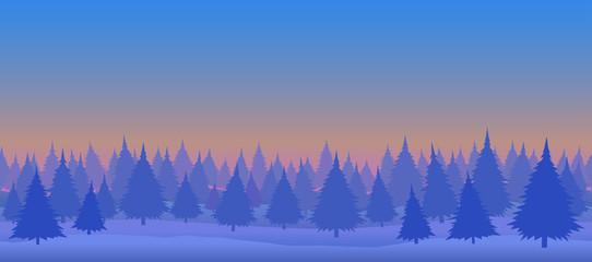 Seamless vector illustration. Daytime winter forest