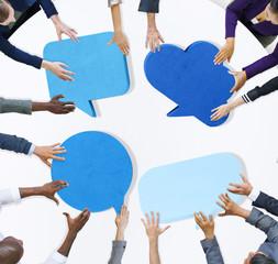Corporate Business People Speech Bubbles Connection Concept