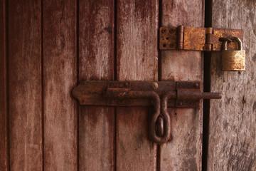 locked old wooden door.