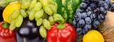 bright background of fruits and vegetables